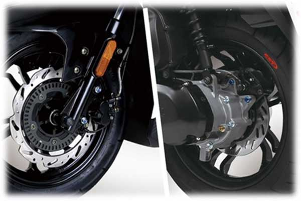 Front and rear double discs, with ABS system (front wheel), to ensure safer riding.